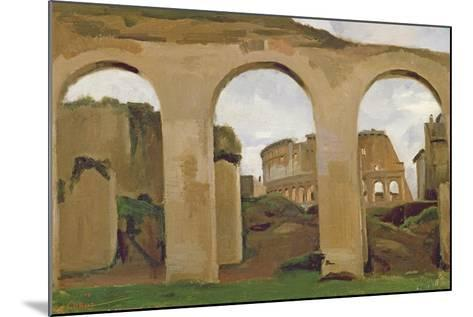 The Colosseum, Seen Through the Arcades of the Basilica of Constantine, 1825-Jean-Baptiste-Camille Corot-Mounted Giclee Print