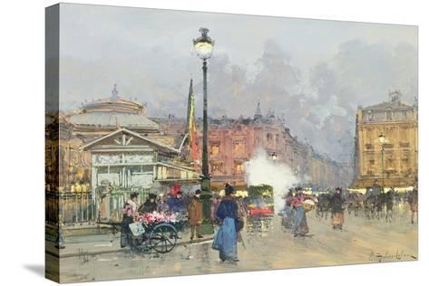 Place De L'Opera, Paris-Eugene Galien-Laloue-Stretched Canvas Print