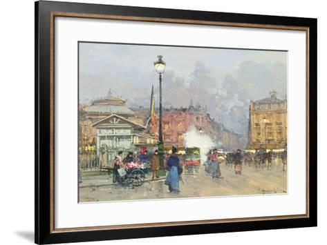 Place De L'Opera, Paris-Eugene Galien-Laloue-Framed Art Print
