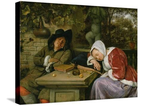 The Sleeping Couple, C.1658-60-Jan Havicksz^ Steen-Stretched Canvas Print