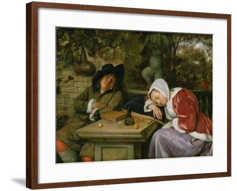 The Sleeping Couple, C.1658-60-Jan Havicksz^ Steen-Framed Art Print