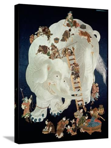 Chinese Washing a White Elephant, Gift Cover, 1800-50--Stretched Canvas Print