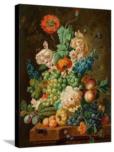Fruit and Flowers on a Marble Table, 1794-Paul Theodor van Brussel-Stretched Canvas Print