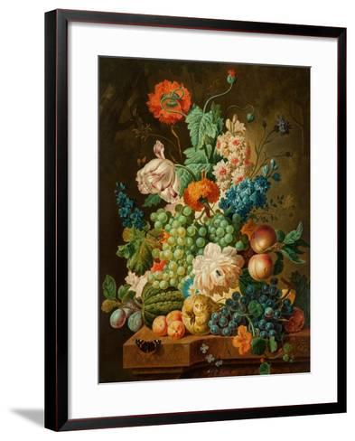 Fruit and Flowers on a Marble Table, 1794-Paul Theodor van Brussel-Framed Art Print