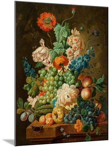 Fruit and Flowers on a Marble Table, 1794-Paul Theodor van Brussel-Mounted Giclee Print