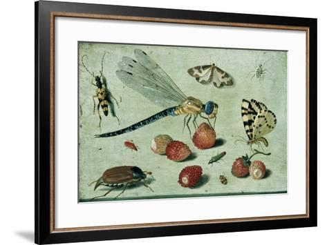 A Dragon-Fly, Two Moths, a Spider and Some Beetles, with Wild Strawberries, 17th Century-Jan Van, The Elder Kessel-Framed Art Print