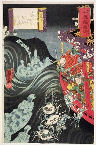 Yoshitsune, with Benkei and Other Retainers in their Ship Beset by the Ghosts of Taira, 1853-Kuniyoshi Utagawa-Stretched Canvas Print