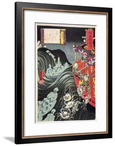 Yoshitsune, with Benkei and Other Retainers in their Ship Beset by the Ghosts of Taira, 1853-Kuniyoshi Utagawa-Framed Art Print