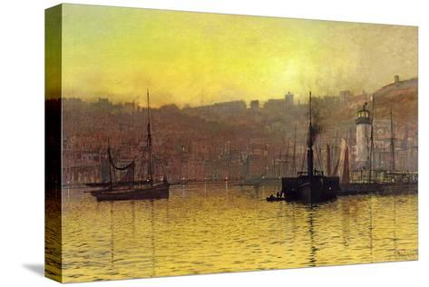 Nightfall in Scarborough Harbour, 1884-John Atkinson Grimshaw-Stretched Canvas Print