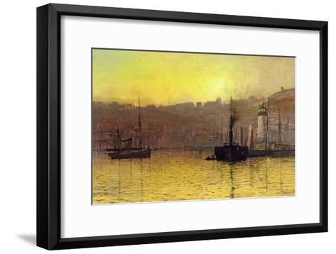 Nightfall in Scarborough Harbour, 1884-John Atkinson Grimshaw-Framed Art Print