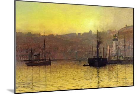 Nightfall in Scarborough Harbour, 1884-John Atkinson Grimshaw-Mounted Giclee Print
