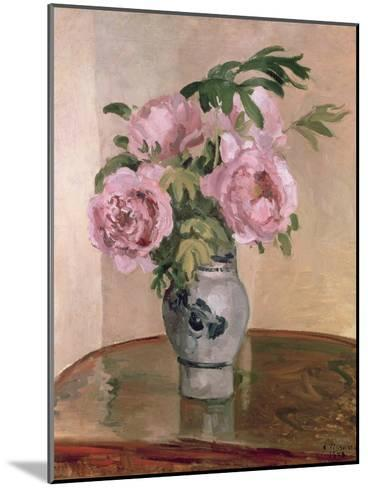 A Vase of Peonies, 1875-Camille Pissarro-Mounted Giclee Print