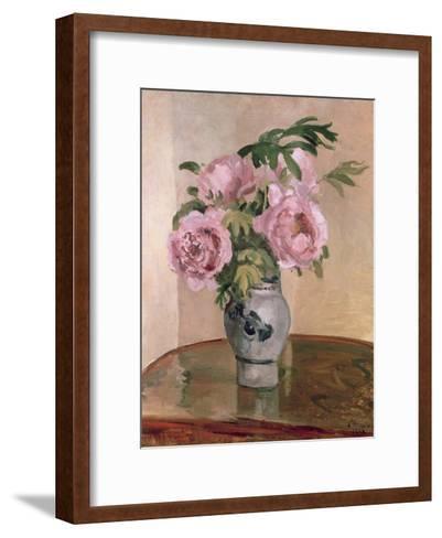 A Vase of Peonies, 1875-Camille Pissarro-Framed Art Print