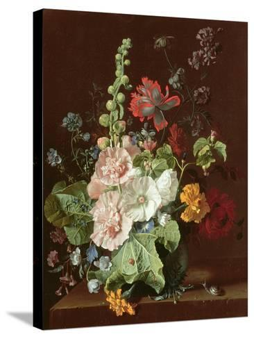 Hollyhocks and Other Flowers in a Vase, 1702-20-Jan van Huysum-Stretched Canvas Print