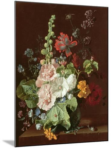 Hollyhocks and Other Flowers in a Vase, 1702-20-Jan van Huysum-Mounted Giclee Print
