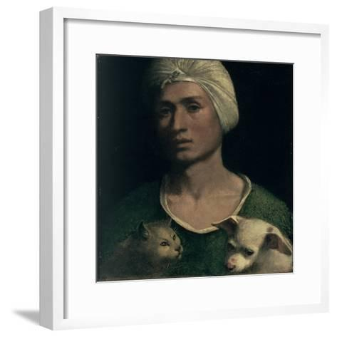 Portrait of a Young Man with a Dog and a Cat-Dosso Dossi-Framed Art Print