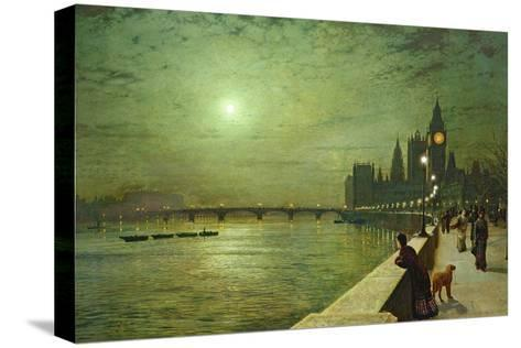 Reflections on the Thames, Westminster, 1880-John Atkinson Grimshaw-Stretched Canvas Print
