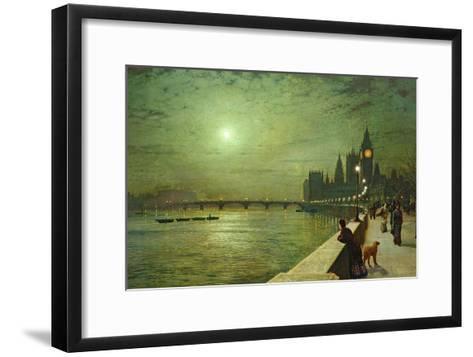 Reflections on the Thames, Westminster, 1880-John Atkinson Grimshaw-Framed Art Print