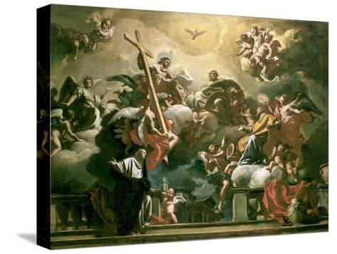 Vision of the Trinity with Ss. Philip Neri and Francesca Romana, 18th Century-Francesco Solimena-Stretched Canvas Print