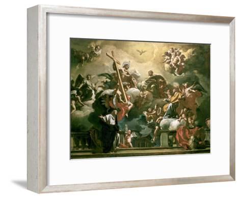 Vision of the Trinity with Ss. Philip Neri and Francesca Romana, 18th Century-Francesco Solimena-Framed Art Print