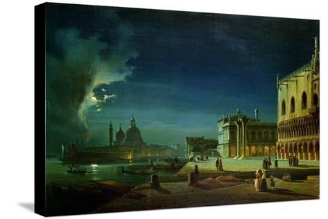 Venice by Moonlight-Ippolito Caffi-Stretched Canvas Print