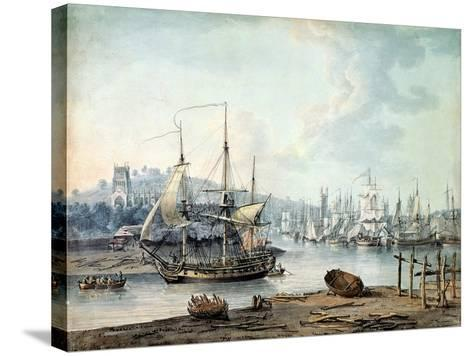 Towing a Warship Out of Bristol Harbour, 1783-Nicholas Pocock-Stretched Canvas Print