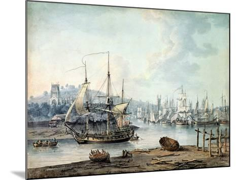 Towing a Warship Out of Bristol Harbour, 1783-Nicholas Pocock-Mounted Giclee Print