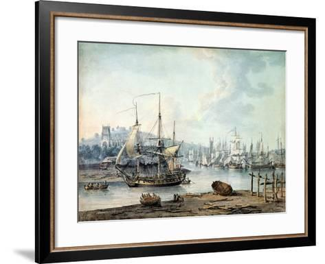 Towing a Warship Out of Bristol Harbour, 1783-Nicholas Pocock-Framed Art Print