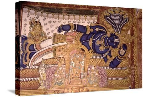 Wall Painting of the God Vishnu Resting on a Snake--Stretched Canvas Print