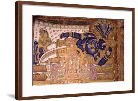 Wall Painting of the God Vishnu Resting on a Snake--Framed Art Print