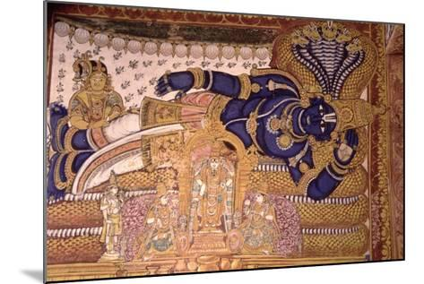 Wall Painting of the God Vishnu Resting on a Snake--Mounted Giclee Print