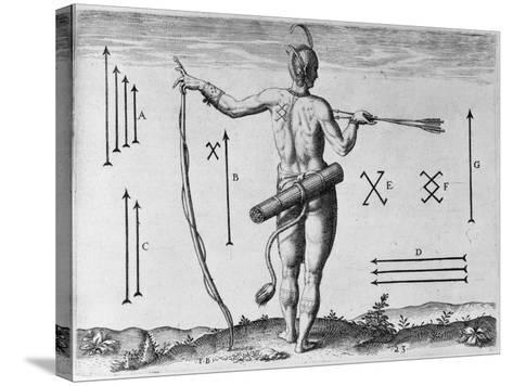 Indian Markings, Engraved by Theodor De Bry (1528-1598)-John White-Stretched Canvas Print