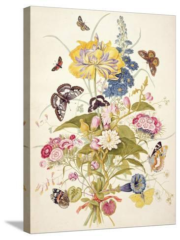 Pd.912-1973 Still Life of Flowers Including a Parrot Tulip, Larkspur, Sweet William, Gentian and…-Thomas Robins-Stretched Canvas Print
