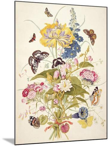 Pd.912-1973 Still Life of Flowers Including a Parrot Tulip, Larkspur, Sweet William, Gentian and…-Thomas Robins-Mounted Giclee Print