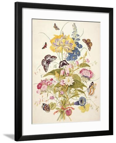 Pd.912-1973 Still Life of Flowers Including a Parrot Tulip, Larkspur, Sweet William, Gentian and…-Thomas Robins-Framed Art Print