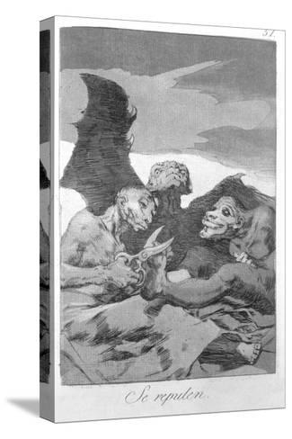 They Spruce Themselves Up, Plate 51 of 'Los Caprichos', 1799-Francisco de Goya-Stretched Canvas Print