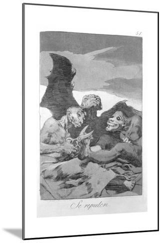 They Spruce Themselves Up, Plate 51 of 'Los Caprichos', 1799-Francisco de Goya-Mounted Giclee Print