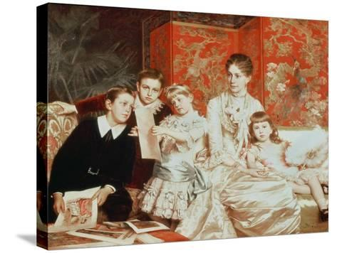 Family Group-Michele Gordigiani-Stretched Canvas Print