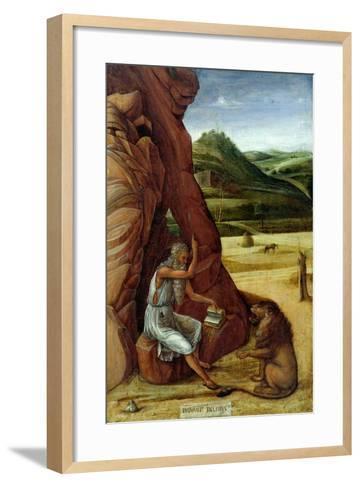 St. Jerome in the Wilderness, C.1450-Giovanni Bellini-Framed Art Print