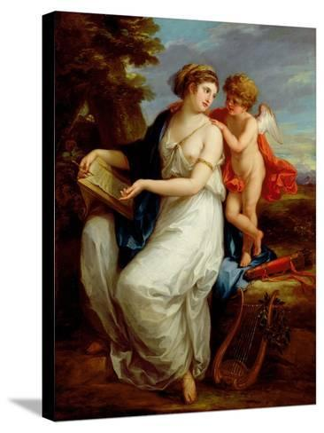 Erato, the Muse of Lyric Poetry with a Putto-Angelica Kauffmann-Stretched Canvas Print