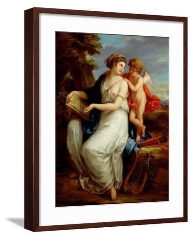 Erato, the Muse of Lyric Poetry with a Putto-Angelica Kauffmann-Framed Art Print