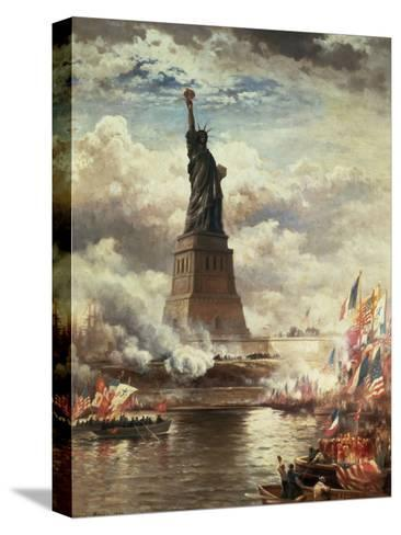The Unveiling of the Statue of Liberty, Enlightening the World, 1886-Edward Moran-Stretched Canvas Print