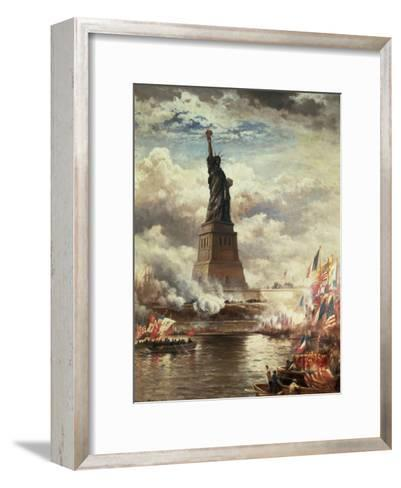 The Unveiling of the Statue of Liberty, Enlightening the World, 1886-Edward Moran-Framed Art Print