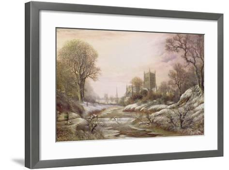 Worcester from the South West in the Snow, C.1875-Charles Leaver-Framed Art Print