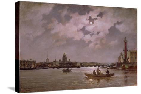 View of the Neva and the Admiralteyskaya Embankment by Moonlight, 1882-Aleksandr Karlovich Beggrov-Stretched Canvas Print