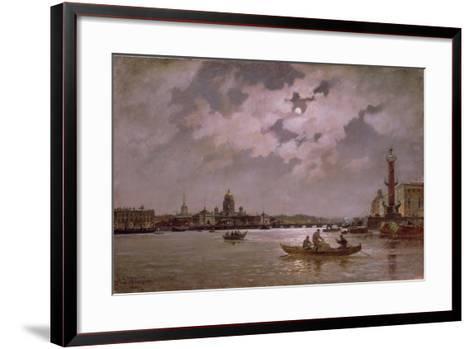View of the Neva and the Admiralteyskaya Embankment by Moonlight, 1882-Aleksandr Karlovich Beggrov-Framed Art Print