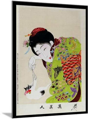 Shin Bijin (True Beauties) Depicting a Woman Playing with a Kitten, from a Series of 36, Modelled…-Toyohara Chikanobu-Mounted Giclee Print