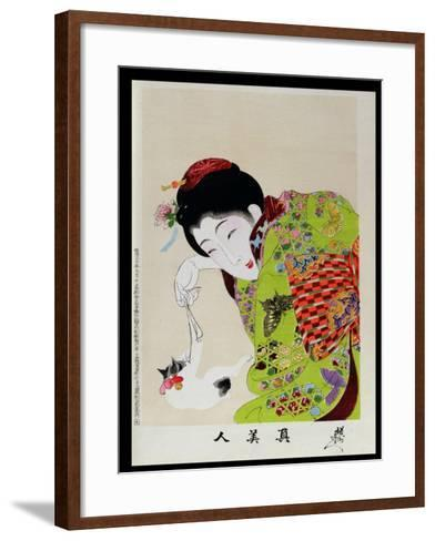 Shin Bijin (True Beauties) Depicting a Woman Playing with a Kitten, from a Series of 36, Modelled…-Toyohara Chikanobu-Framed Art Print