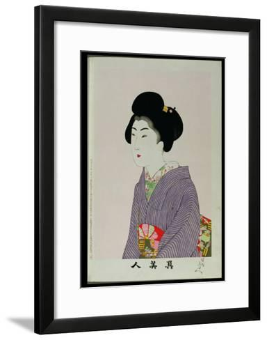 Shin Bijin (True Beauties) Depicting a Seated Woman, from a Series of 36, Modelled on an Earlier…-Toyohara Chikanobu-Framed Art Print