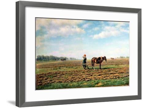 Ploughing the Field, 1871-Mikhail Konstantinovich Klodt-Framed Art Print